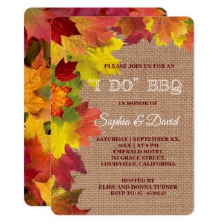 Charm Rustic Fall Leaves Burlap I DO BBQ Invite
