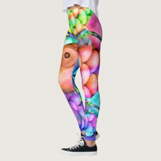 Charm School Colorful Rainbow Fish Collage Leggings