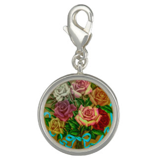 Charm with vintage rose motif