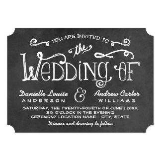 Charme noir de tableau du faire-part de mariage | carton d'invitation  12,7 cm x 17,78 cm