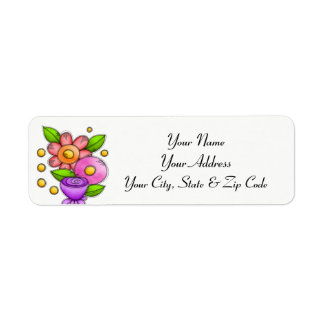 Charmed Watercolor Doodle Flower Address Label
