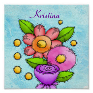 Charmed Watercolor Doodle Flower Poster