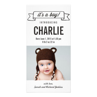 Charming Banner Baby Boy Birth Announcement Picture Card