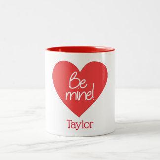 Charming Be Mine Red Heart Two-Tone Coffee Mug