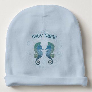 Charming Blue and Teal Seahorse Artwork Baby Beanie