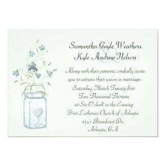Charming Blue Bells & Mason Jar Wedding Invitation