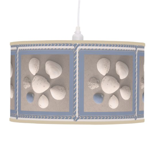 Charming Blue Framed Seashell Pendant Lamp