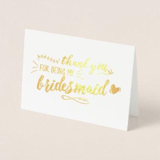 Charming Bridesmaid Thank You Foil Card
