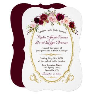 Charming Burgundy Marsala Floral Fall Wedding Card