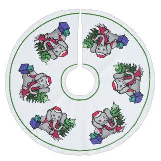 Charming Cartoon Christmas Santa Elephants Brushed Polyester Tree Skirt