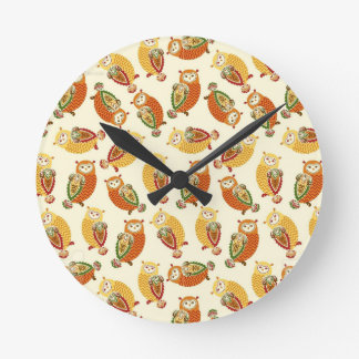 Charming, Cute owls in autumn colors Clock