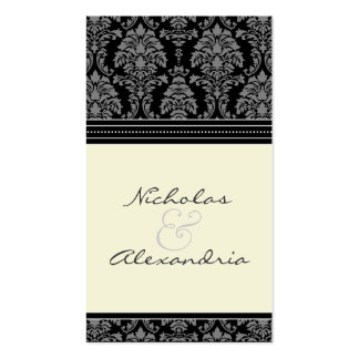 Charming Damask Wedding Web Card (black/ivory) Business Card Templates