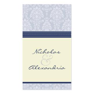 Charming Damask Wedding Web Card (navy/ivory) Business Cards