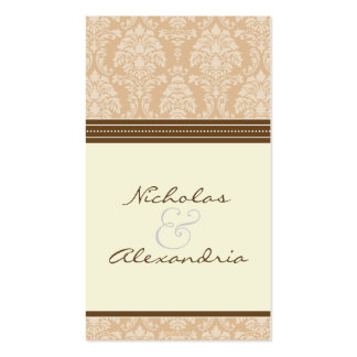Charming Damask Wedding Web Card (sepia/ivory) Business Card