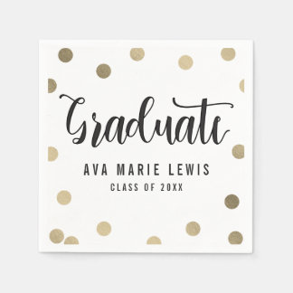 Charming Dots Gold Graduation Napkins Paper Napkin