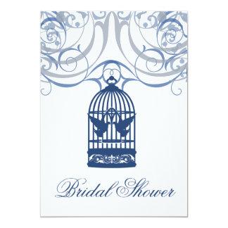Charming Drk Blue Birdcage Bridal Shower Card
