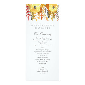 "Charming Fall Wedding Program 4"" X 9.25"" Invitation Card"