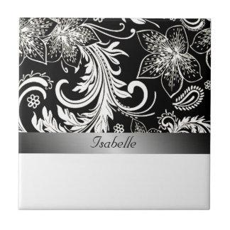 Charming floral silvery black vintage monogram tiles