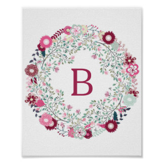 Charming Floral Wreath with Monogram Poster