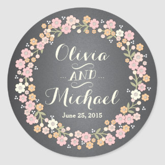 Charming Garden Floral Wreath II Custom Sticker