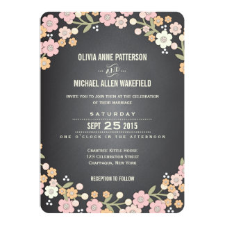Charming Garden Floral Wreath Wedding Invitation