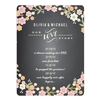 "Charming Garden Floral Wreath Wedding Story Card 6.5"" X 8.75"" Invitation Card"