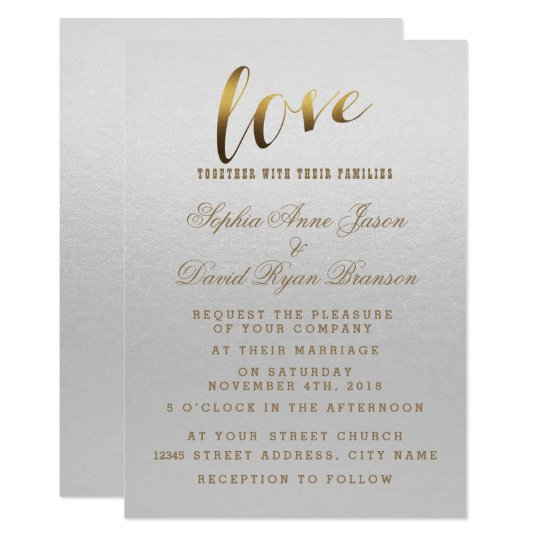 Charming Gold Foil Grunge Grey Wedding Invitation