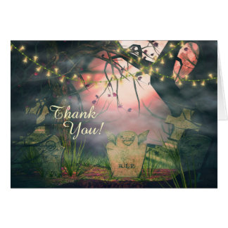 Charming Graveyard and Flower Lights Thank You Card