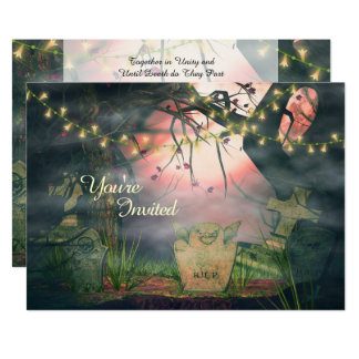 Charming Graveyard and Lights Wedding Invitation
