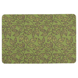 Charming Leaves in Green Floor Mat
