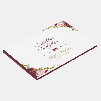 Charming Marsala Floral Burgundy Wedding Guest Book