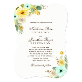 Charming Mint and Yellow Wedding Invitations