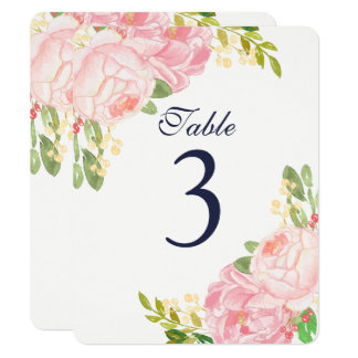 Charming Pink Peony Table Number Cards