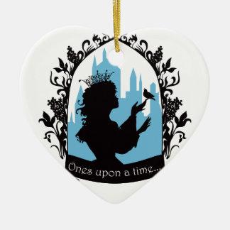 Charming princess stylish silhouette singing bird ceramic heart ornament