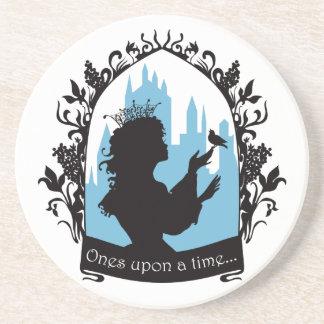 Charming princess stylish silhouette singing bird coasters
