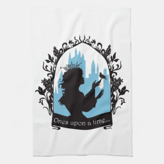 Charming princess stylish silhouette singing bird hand towels