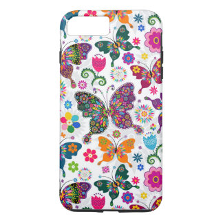 Charming Retro Flowers And Butterflies Pattern iPhone 8 Plus/7 Plus Case