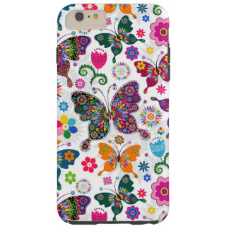 Charming Retro Flowers And Butterflies Pattern Tough iPhone 6 Plus Case