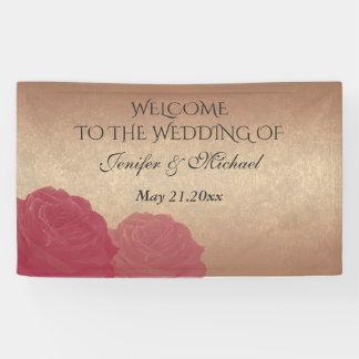 Charming romantic rose gold roses wedding banner