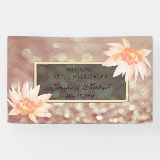 Charming romantic watercolor floral bokeh wedding banner