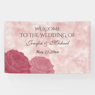 Charming romantic watercolor rose wedding banner