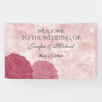 Charming romantic watercolor rose wedding banner