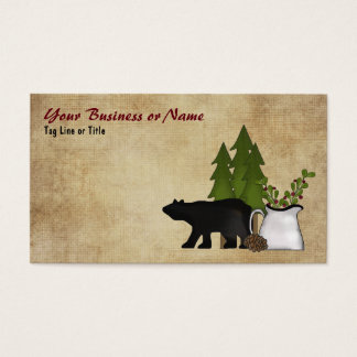 Charming Rustic Mountain Country Silhouette Bear Business Card