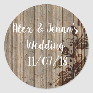 Charming Rustic Vines/Wood Look Wedding Stickers