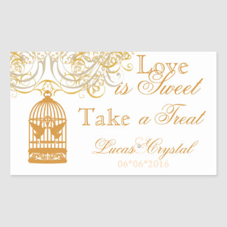 Charming Saffron Birdcage Candy Buffet Sticker