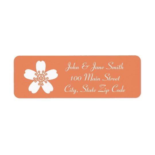 Charming Sakura in Coral Return Address Label