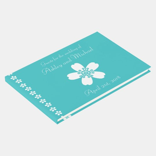 Charming Sakura in Turquoise Guest Book