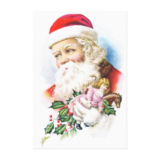 Charming Santa Claus with Toys Gallery Wrapped Canvas