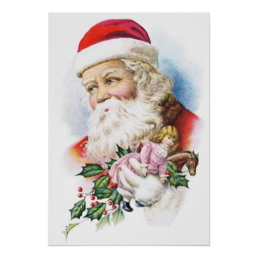 Charming Santa Claus with Toys Print