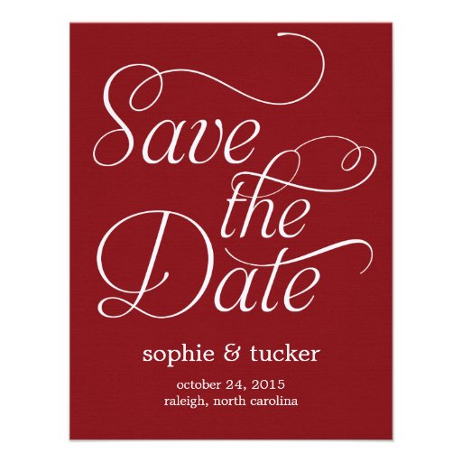 Charming Script Wedding Save The Date Card Custom Invitations
